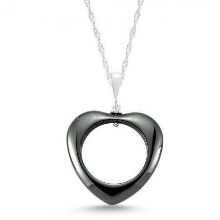 - 925 Ayar Gümüşlü Hematit Doğaltaş Kalp Kolye