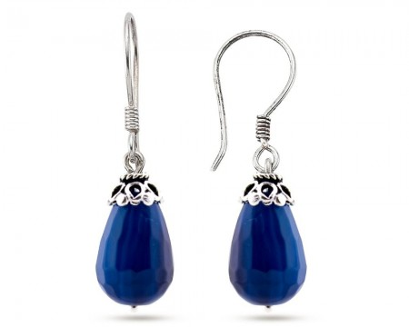 - 925 Ayar Gümüşlü Mavi Akik Doğaltaş Küpe