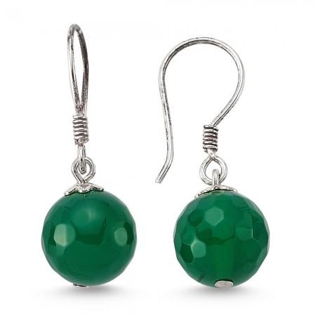 Tesbihane - 925 Ayar Gümüşlü Yeşil Kristal Akik Doğaltaş Küpe