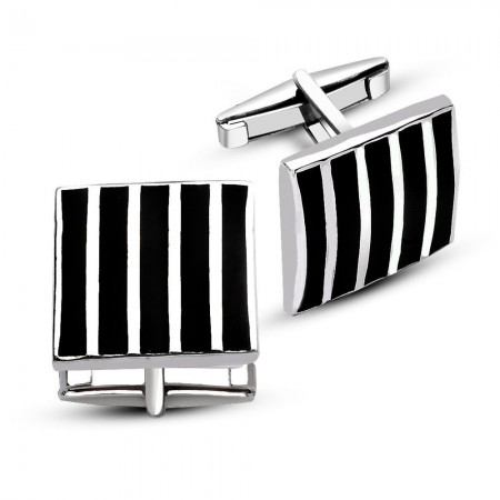 - 925 Ayar Siyah Mine Üzeri Gümüş Çizgili Kol Düğmesi