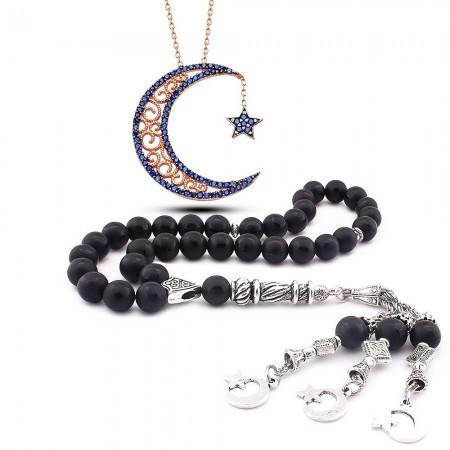 Tesbihane - 925 Ayar Zirkon Taşlı AyYıldız Kolye ve Ayyıldız İşlemeli Oniks Tesbih Kombini