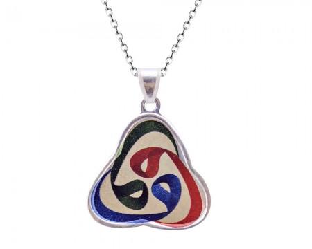 Tesbihane - 925 Gümüş 3 Vav Renkli Kolye