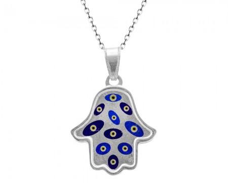 Tesbihane - 925 Gümüş Fatma Ana Eli Kolye