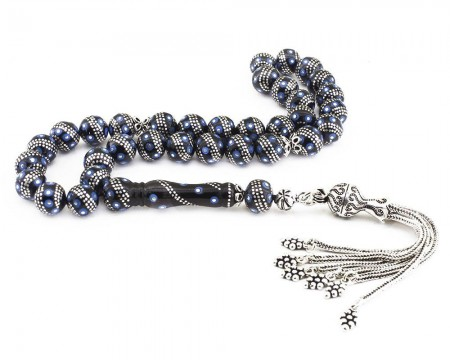 Tesbihane - 925 Ayar Gümüş Püsküllü Gümüş-Firuze İşlemeli Erzurum Oltu Taşı Tesbih (M-1)