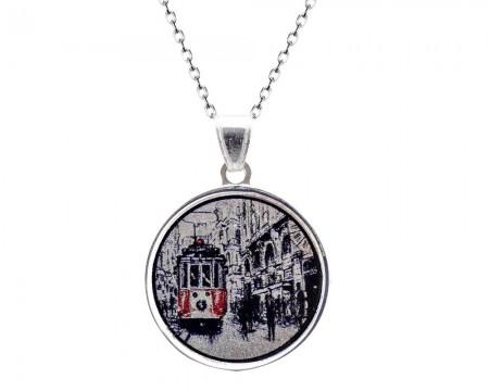 Tesbihane - 925 Gümüş İstanbul Desen Kolye