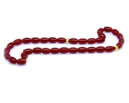 Tesbihane - Akik Kırmızı Arpa Kesim 9*6 mm