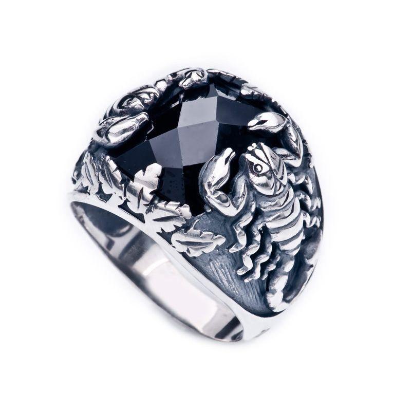Akrep Motifli Siyah Zirkon Taşlı 925 Ayar Gümüş Erkek Yüzük
