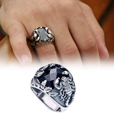 Tesbihane - Akrep Motifli Siyah Zirkon Taşlı 925 Ayar Gümüş Erkek Yüzük