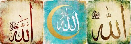 Tesbihane - Allah Yazılı Hilal Tasarım Kanvas Tablo