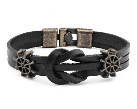 - Antik Kaplama Gemici Düğümü Deri Bileklik(model 5)