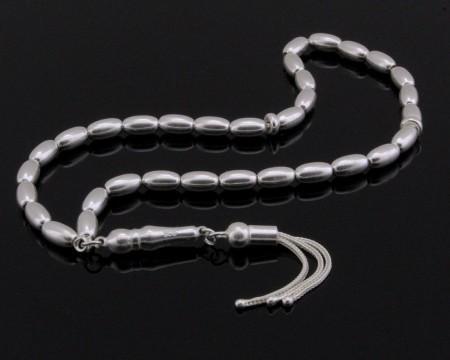 Üç Püsküllü Arpa Kesim 925 Ayar Gümüş Tesbih (M-1) - Thumbnail