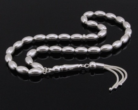Üç Püsküllü Arpa Kesim 925 Ayar Gümüş Tesbih (M-2) - Thumbnail