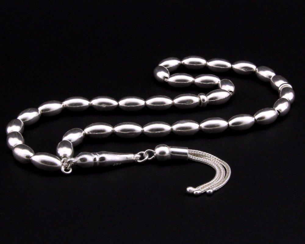 Üç Püsküllü Arpa Kesim 925 Ayar Gümüş Tesbih (M-2)