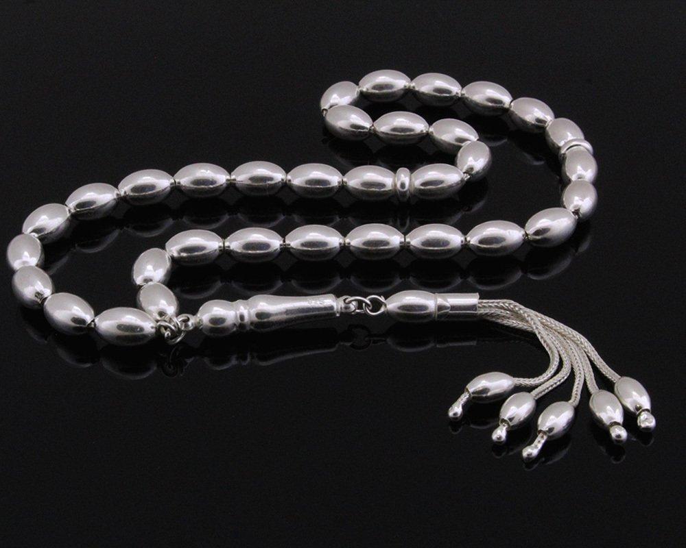 Dört Püsküllü Arpa Kesim 925 Ayar Gümüş Tesbih