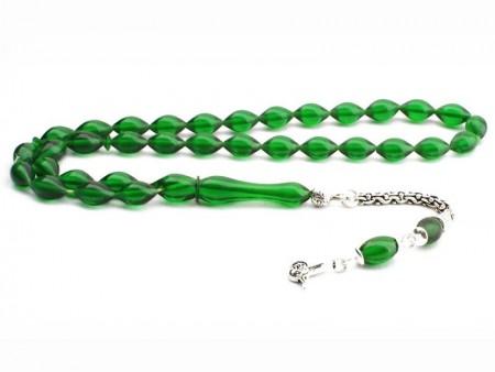 - Arpa Kesim Yeşil Renk Sıkma Kehribar Tesbih