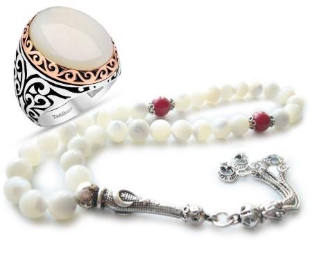 Tesbihane - Ayyıldız Gümüşlü Sedef Mercan Tesbih ve Gümüş Sedef Taşlı Yüzük Kombini