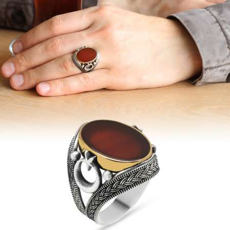 Tesbihane - Ayyıldız-Hasır İşlemeli Oval Kırmızı Akik Taşlı 925 Ayar Gümüş Erkek Yüzük