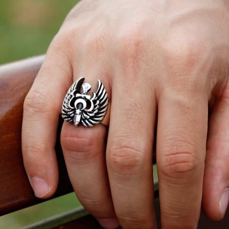 Tesbihane - Ayyıldız Kartallı 925 Ayar Gümüş Yüzük