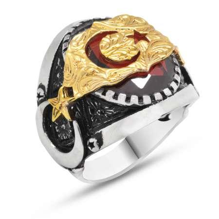 Tesbihane - Ayyıldız Motifli Kırmızı Zirkon Taşlı 925 Ayar Gümüş Erkek Yüzük