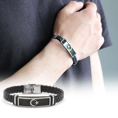 Tesbihane - Ayyıldız Tasarım Siyah Deri-Çelik Kombinli Erkek Bileklik