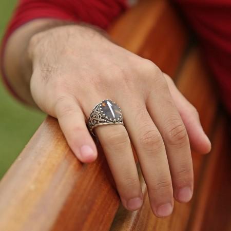 Bağa Üzerine Elif Harfi Sedef Kakma El İşçiliği Oval Yüzük - Thumbnail