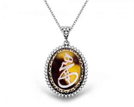 Tesbihane - Bağa Üzerine Sedef Kakma Hiç Yazılı Gümüş Kolye