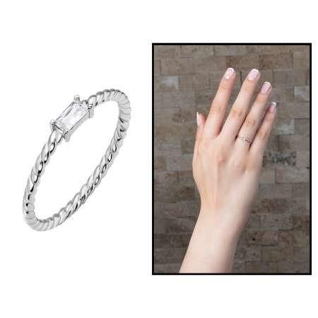 Tesbihane - Baget Taşlı 925 Ayar Gümüş Bayan Yüzük