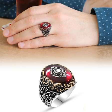 Baklava Desen Motifli Kırmızı Sıkma Kehribar Taşlı 925 Ayar Gümüş Yüzük - Thumbnail