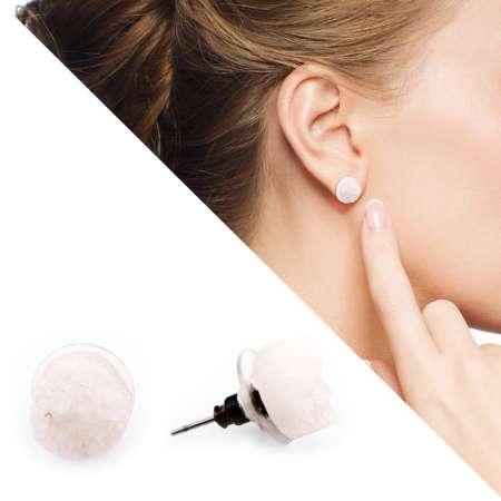 Tesbihane - Beyaz Kristal Mineral Doğaltaş Küpe