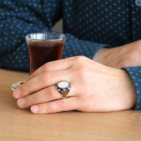 Beyaz Sedef ve Zirkon Taşlı 925 Ayar Gümüş Erkek Yüzük - Thumbnail
