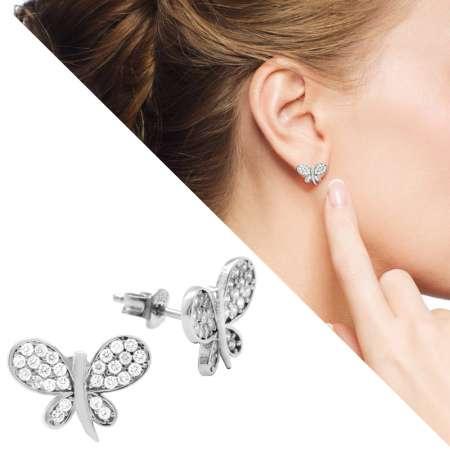 Tesbihane - Beyaz Zirkon Taşlı Kelebek Tasarım 925 Ayar Gümüş Bayan Küpe