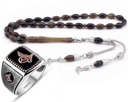 Tesbihane - Bufalo Boynuzu Tesbih ve Oniks Taşlı Gümüş Yüzük Kombini