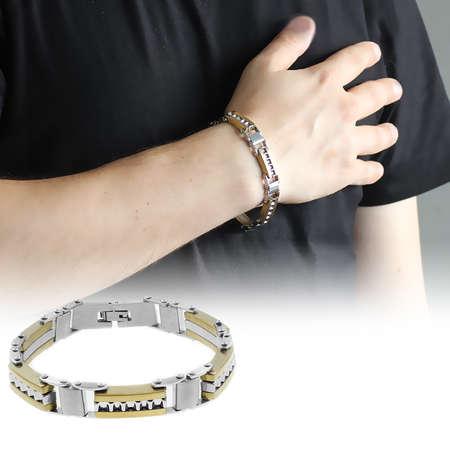 Tesbihane - Gümüş-Gold Renk Çelik Erkek Bileklik