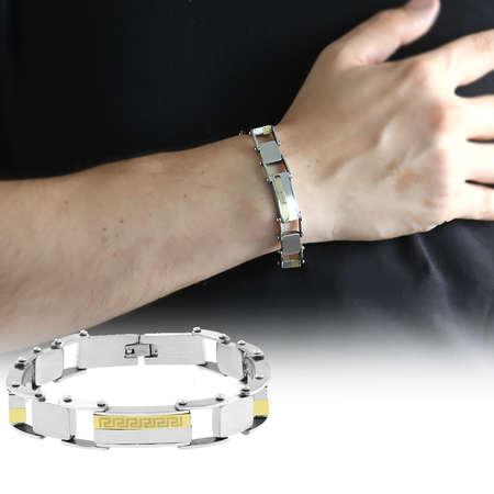 Tesbihane - Labirent Tasarım Gümüş-Gold Kombinli Çelik Erkek Bileklik (M-1)