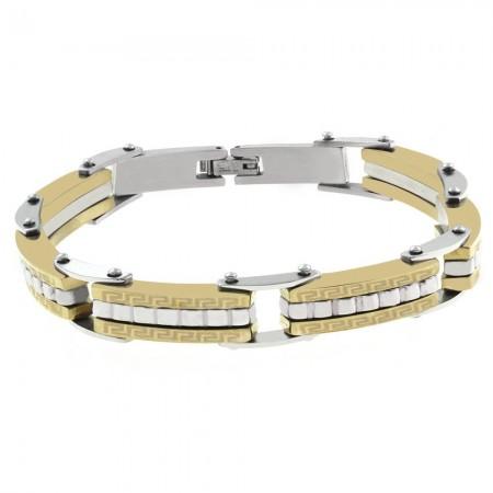 Tesbihane - Labirent Tasarım Gümüş-Gold Kombinli Çelik Erkek Bileklik (M-2)