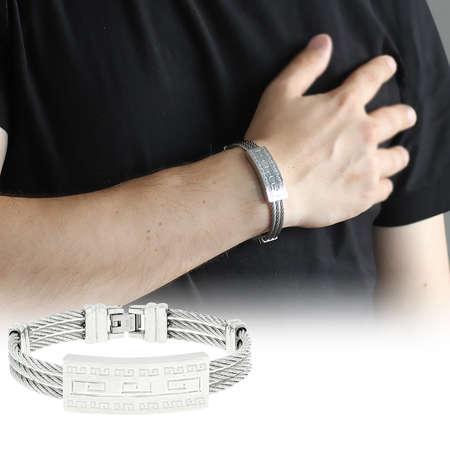 Tesbihane - Labirent Tasarım 3 Sıra Gümüş Renk Çelik Erkek Bileklik