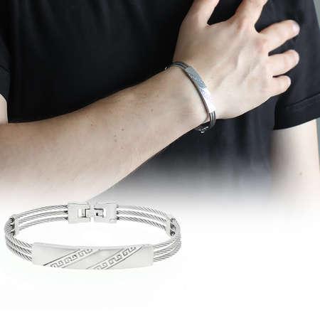 Tesbihane - Çapraz Labirent Tasarım 3 Sıra Gümüş Renk Çelik Erkek Bileklik