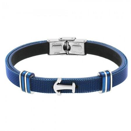 Tesbihane - Çapa Tasarım Mavi Çelik-Deri Kombinli Erkek Bileklik