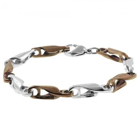 Tesbihane - Zincir Tasarım Kahverengi-Gümüş Renk Çelik Erkek Bileklik