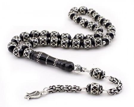 - 925 Ayar Gümüş Arnavut Püsküllü Baklava Deseni İşlemeli Erzurum Oltu Taşı Tesbih
