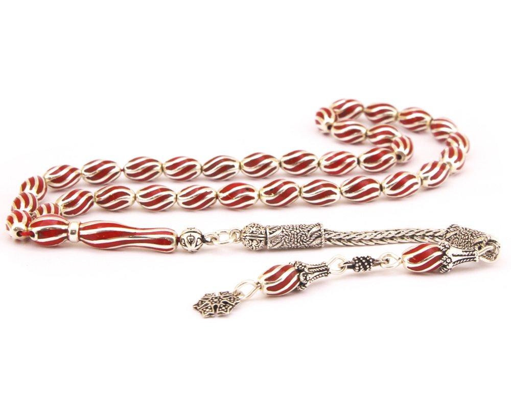 Çeşm-i Bülbül Model Kırmızı Mineli 925 Ayar Gümüş Tesbih