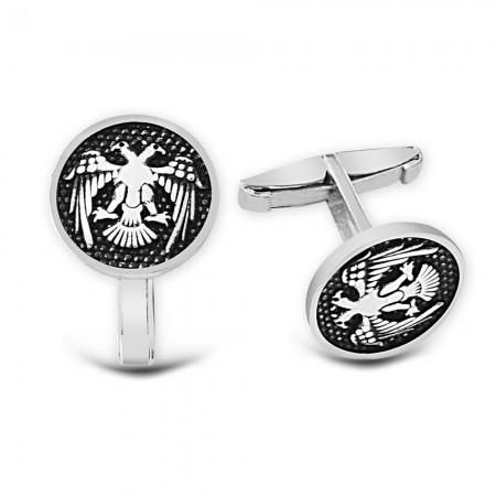 - Çift Başlı Selçuklu Kartalı 925 Ayar Gümüş Kol Düğmesi