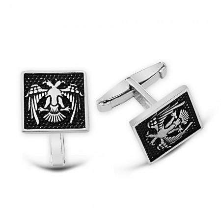 - Çift Başlı Selçuklu Kartallı Kare Model 925 Ayar Gümüş Kol Düğmesi