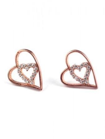 Çift Kalpli Taşlı Küpe - Thumbnail