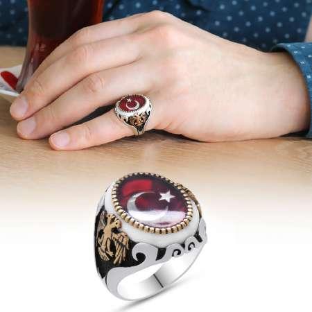 Tesbihane - Çift Kartal İşlemeli Ayyıldız Motifli Kırmızı Mineli 925 Ayar Gümüş Yüzük
