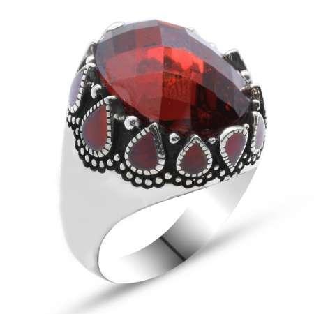 Damla Desen İşlemeli Kırmızı Zirkon Taşlı 925 Ayar Gümüş Erkek Yüzük (M-2) - Thumbnail