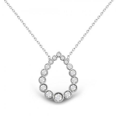 Tesbihane - Damla Tasarım Beyaz Zirkon Taşlı Gümüş Kolye