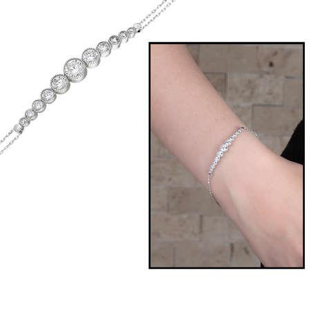 Tesbihane - Damla Tasarım Zirkon Taşlı Renk 925 Ayar Gümüş Bayan Bileklik
