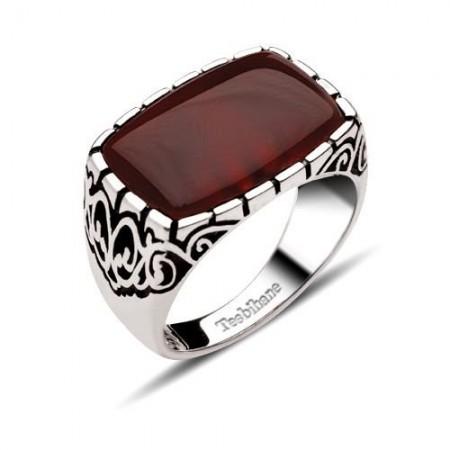 Dekoratif Model Kırmızı Akik Taşlı Gümüş Yüzük - Thumbnail