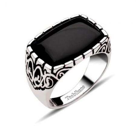 - Dekoratif Model Oniks Taşlı Gümüş Yüzük
